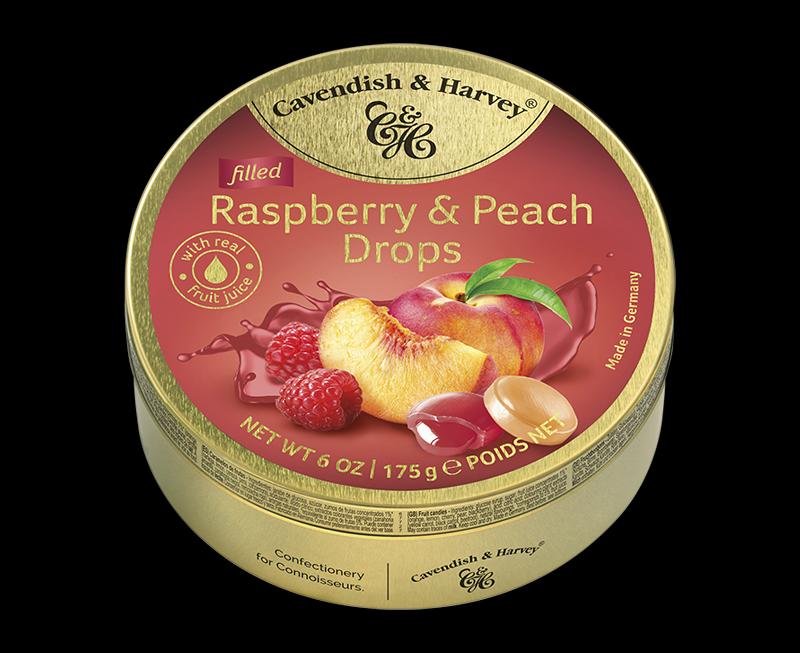 Raspberry & Peach Drops filled 175g